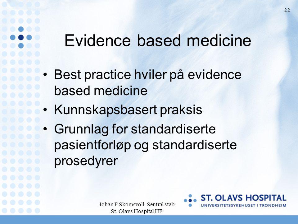 Johan F Skomsvoll Sentral stab St. Olavs Hospital HF 22 Evidence based medicine Best practice hviler på evidence based medicine Kunnskapsbasert praksi