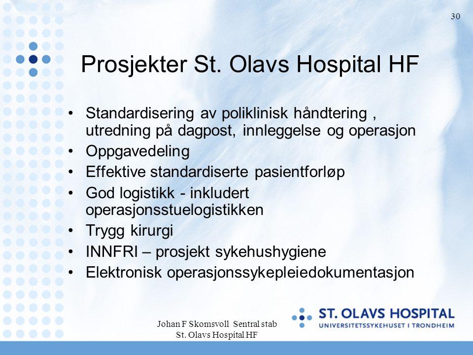 Johan F Skomsvoll Sentral stab St. Olavs Hospital HF 30 Prosjekter St. Olavs Hospital HF Standardisering av poliklinisk håndtering, utredning på dagpo