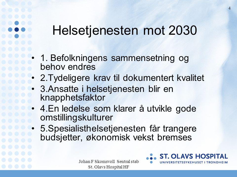 Johan F Skomsvoll Sentral stab St. Olavs Hospital HF 4 Helsetjenesten mot 2030 1. Befolkningens sammensetning og behov endres 2.Tydeligere krav til do