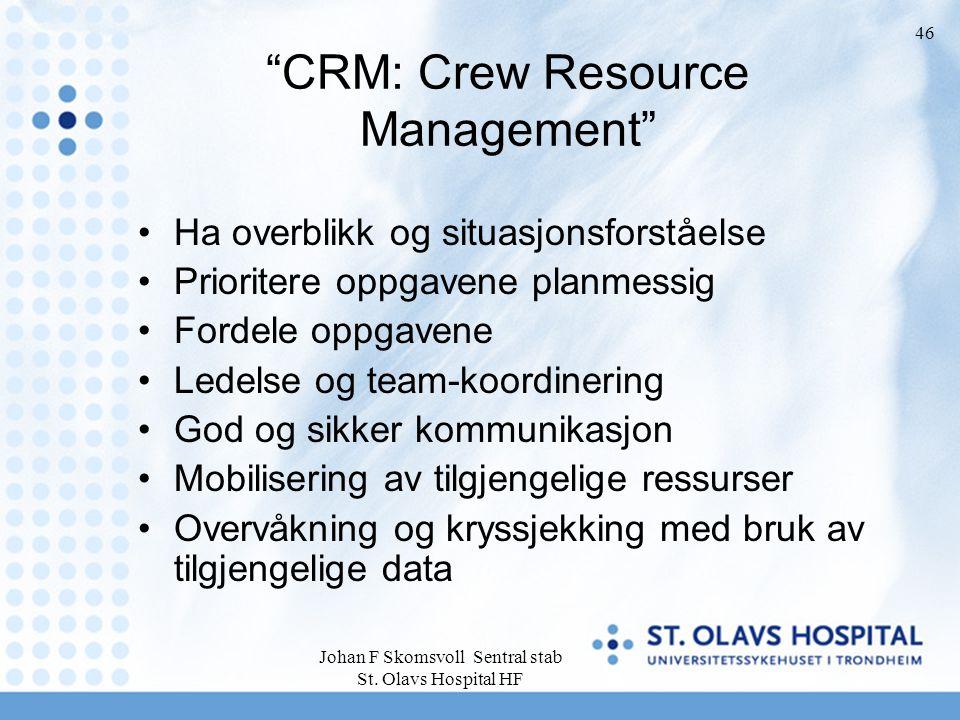 """Johan F Skomsvoll Sentral stab St. Olavs Hospital HF 46 """"CRM: Crew Resource Management"""" Ha overblikk og situasjonsforståelse Prioritere oppgavene plan"""