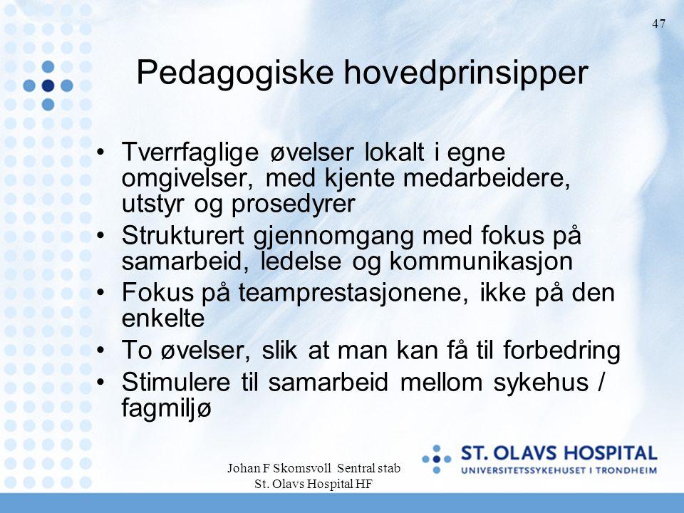 Johan F Skomsvoll Sentral stab St. Olavs Hospital HF 47 Pedagogiske hovedprinsipper Tverrfaglige øvelser lokalt i egne omgivelser, med kjente medarbei