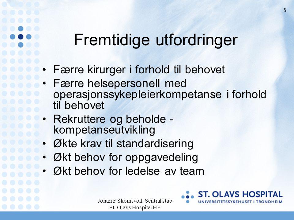 Johan F Skomsvoll Sentral stab St. Olavs Hospital HF 8 Fremtidige utfordringer Færre kirurger i forhold til behovet Færre helsepersonell med operasjon
