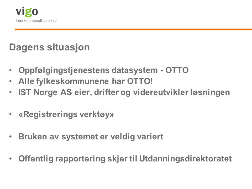 Dagens situasjon Oppfølgingstjenestens datasystem - OTTO Alle fylkeskommunene har OTTO! IST Norge AS eier, drifter og videreutvikler løsningen «Regist