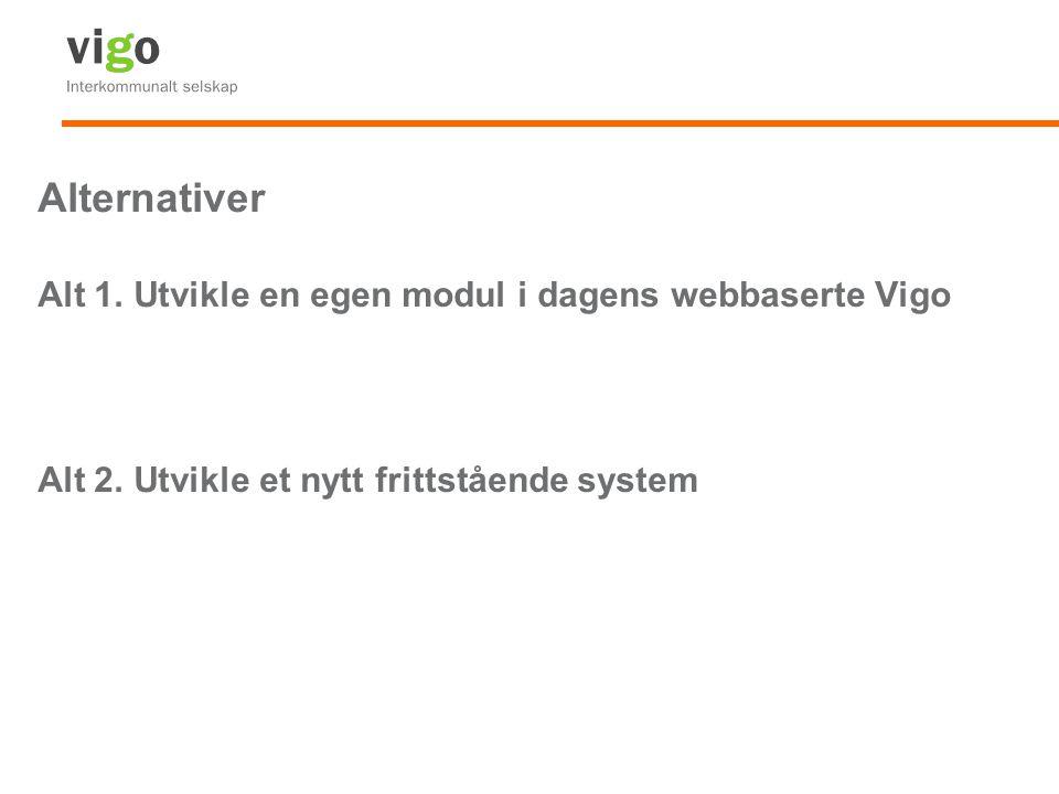 Alternativer Alt 1. Utvikle en egen modul i dagens webbaserte Vigo Alt 2. Utvikle et nytt frittstående system