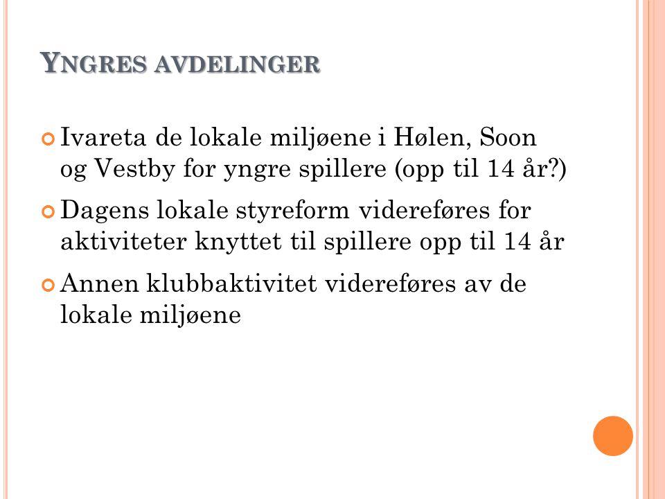 Y NGRES AVDELINGER Ivareta de lokale miljøene i Hølen, Soon og Vestby for yngre spillere (opp til 14 år?) Dagens lokale styreform videreføres for akti