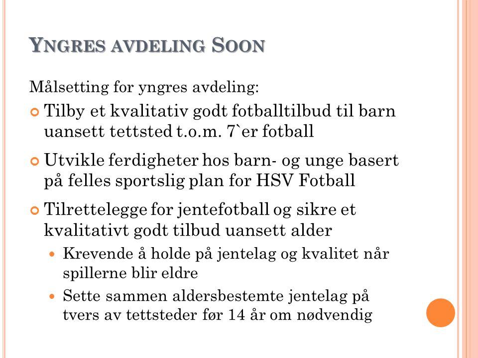 Y NGRES AVDELING S OON Målsetting for yngres avdeling: Tilby et kvalitativ godt fotballtilbud til barn uansett tettsted t.o.m. 7`er fotball Utvikle fe