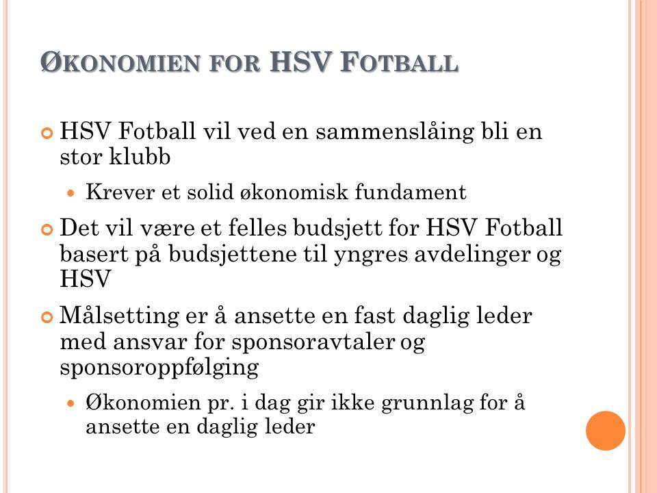 Ø KONOMIEN FOR HSV F OTBALL HSV Fotball vil ved en sammenslåing bli en stor klubb Krever et solid økonomisk fundament Det vil være et felles budsjett