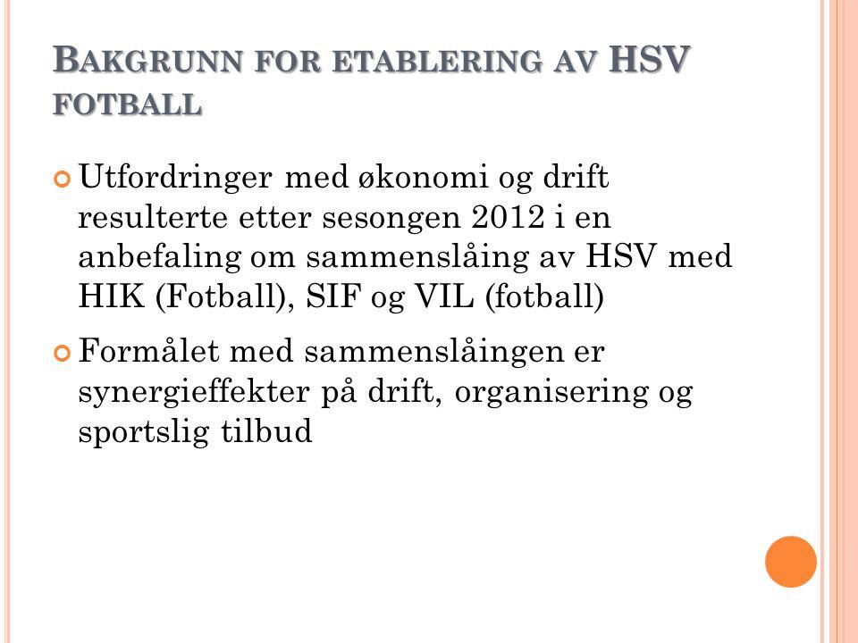 Ø KONOMIEN FOR HSV F OTBALL HSV Fotball vil ved en sammenslåing bli en stor klubb Krever et solid økonomisk fundament Det vil være et felles budsjett for HSV Fotball basert på budsjettene til yngres avdelinger og HSV Målsetting er å ansette en fast daglig leder med ansvar for sponsoravtaler og sponsoroppfølging Økonomien pr.