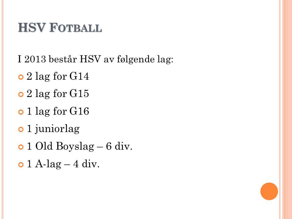 HSV F OTBALL I 2013 består HSV av følgende lag: 2 lag for G14 2 lag for G15 1 lag for G16 1 juniorlag 1 Old Boyslag – 6 div. 1 A-lag – 4 div.