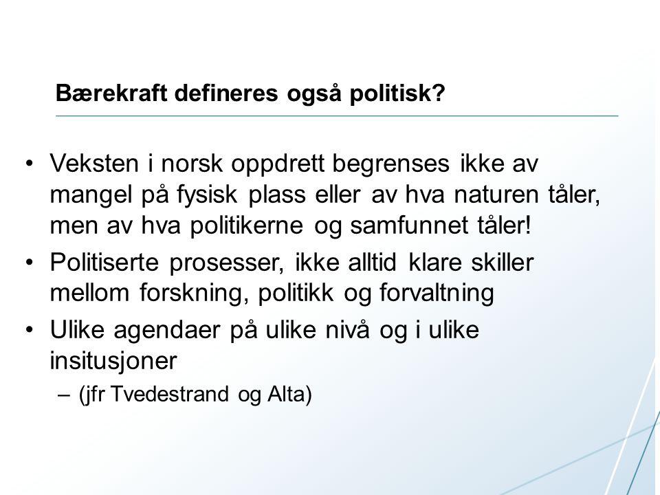 Bærekraft defineres også politisk? Veksten i norsk oppdrett begrenses ikke av mangel på fysisk plass eller av hva naturen tåler, men av hva politikern
