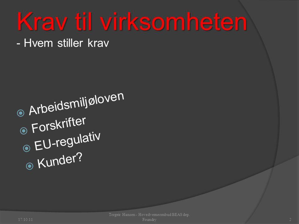 Krav til virksomheten Krav til virksomheten - Hvem stiller krav  Arbeidsmiljøloven  Forskrifter  EU-regulativ  Kunder.