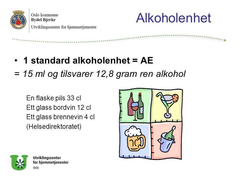 Alkoholenhet 1 standard alkoholenhet = AE = 15 ml og tilsvarer 12,8 gram ren alkohol En flaske pils 33 cl Ett glass bordvin 12 cl Ett glass brennevin 4 cl (Helsedirektoratet)
