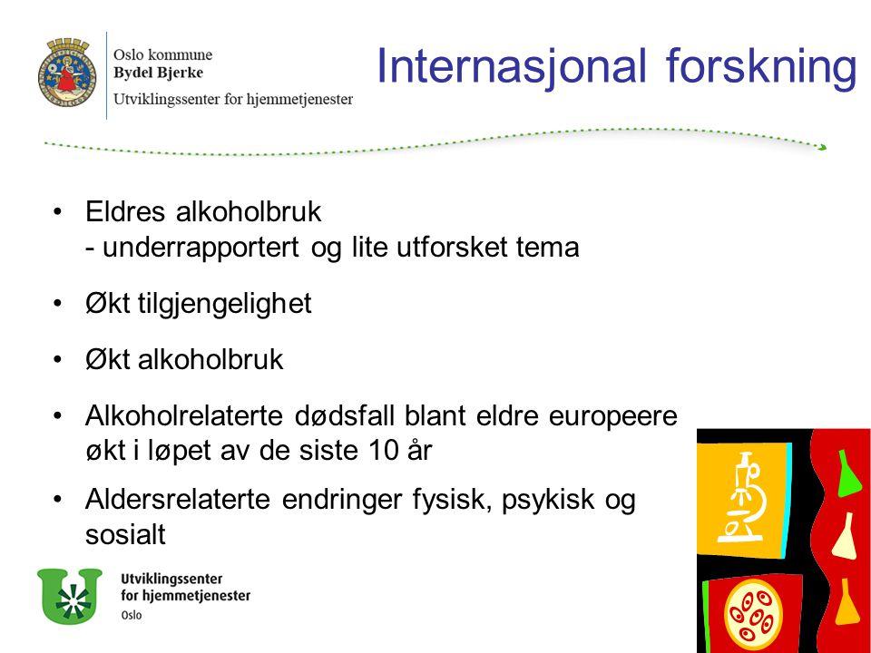 Internasjonal forskning Eldres alkoholbruk - underrapportert og lite utforsket tema Økt tilgjengelighet Økt alkoholbruk Alkoholrelaterte dødsfall blant eldre europeere økt i løpet av de siste 10 år Aldersrelaterte endringer fysisk, psykisk og sosialt