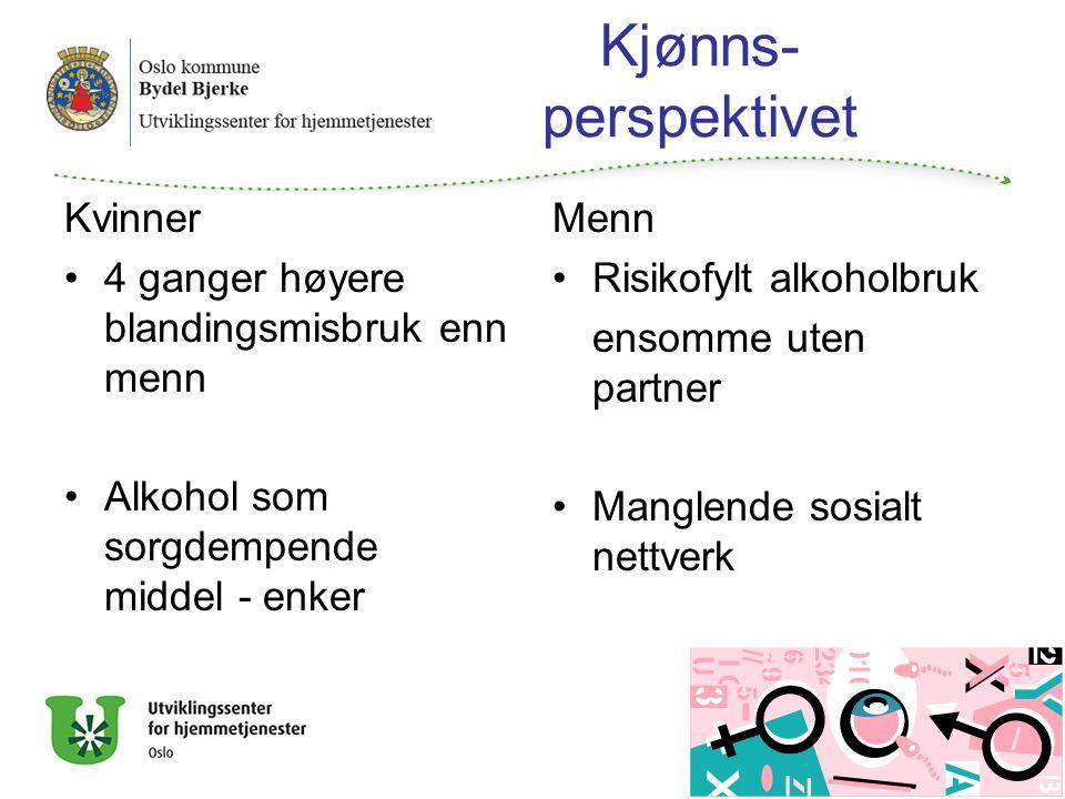 Kjønns- perspektivet Kvinner 4 ganger høyere blandingsmisbruk enn menn Alkohol som sorgdempende middel - enker Menn Risikofylt alkoholbruk ensomme uten partner Manglende sosialt nettverk