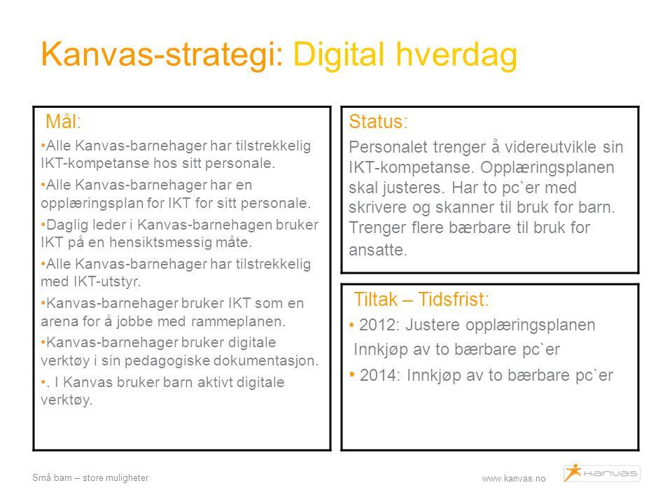 www.kanvas.no Små barn – store muligheter Kanvas-strategi: Digital hverdag Tiltak – Tidsfrist: 2012: Justere opplæringsplanen Innkjøp av to bærbare pc