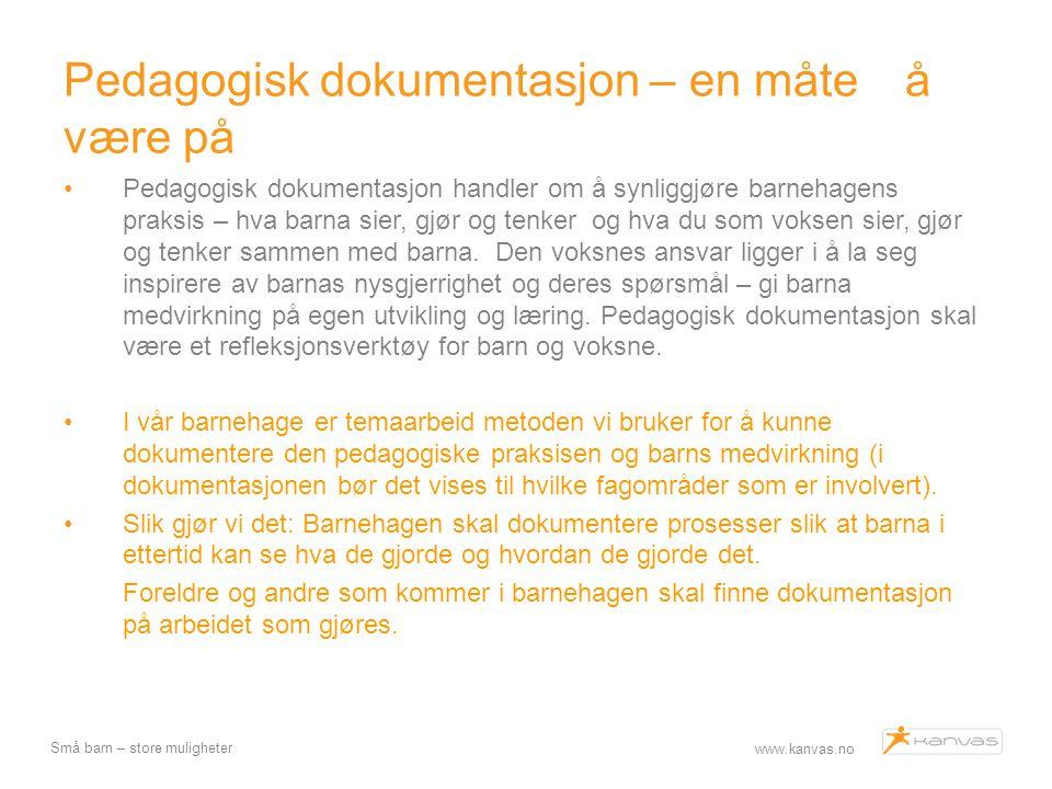 www.kanvas.no Små barn – store muligheter Pedagogisk dokumentasjon – en måte å være på Pedagogisk dokumentasjon handler om å synliggjøre barnehagens p