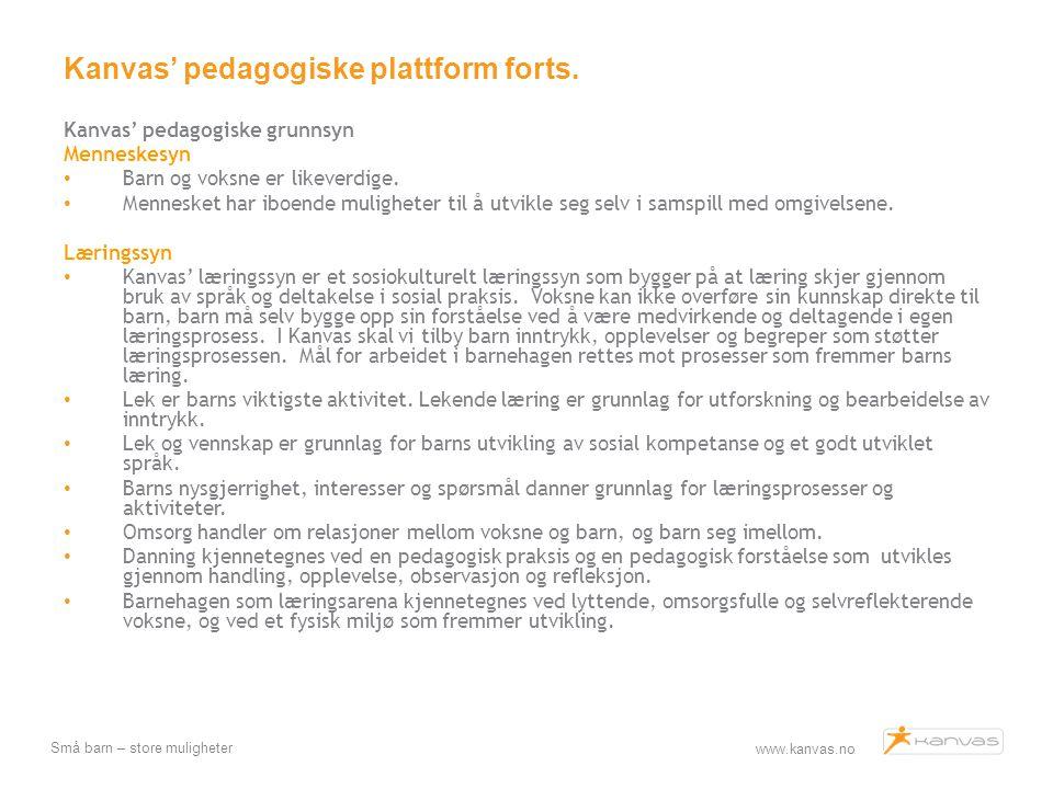 www.kanvas.no Små barn – store muligheter Kanvas' pedagogiske plattform forts. Kanvas' pedagogiske grunnsyn Menneskesyn Barn og voksne er likeverdige.