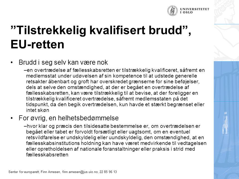 Senter for europarett, Finn Arnesen, finn.arnesen@jus.uio.no, 22 85 96 13 Tre illustrative avgjørelser Sak C-392/93, British Telecom Sak C-224/01, Köbler, premiss 104 flg.Sak C-224/01, Köbler Sak C-278/05, Robbins m.fl., premiss 64 flg.Sak C-278/05, Robbins m.fl.