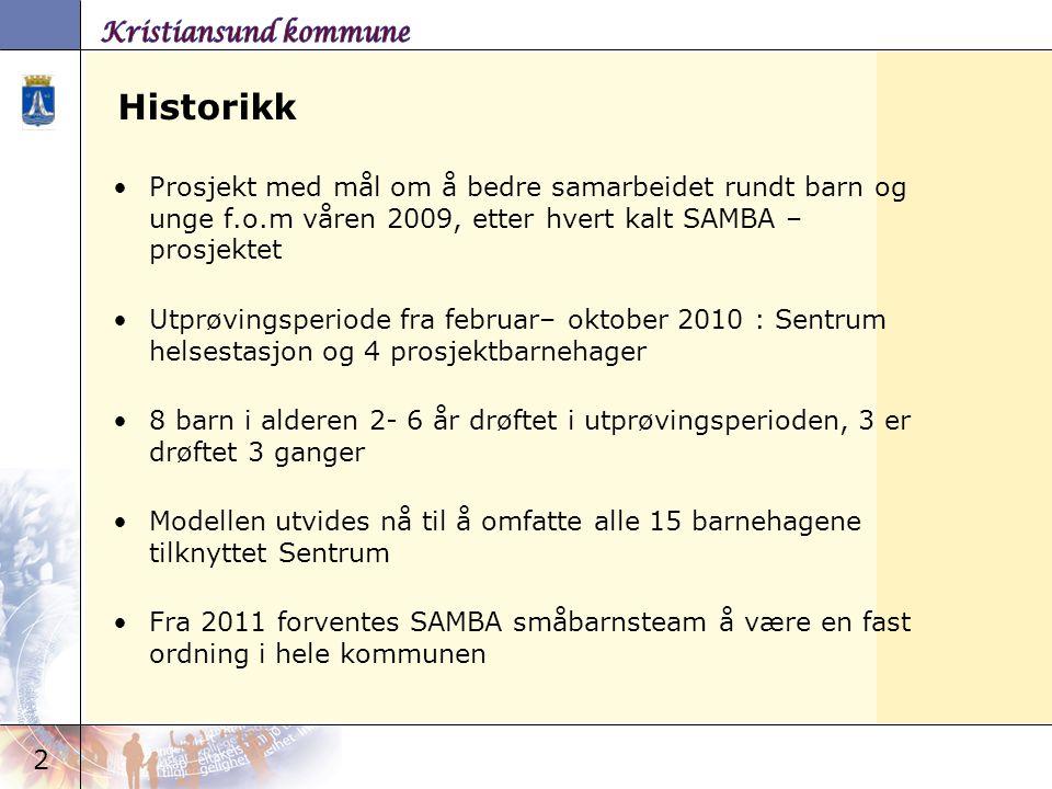2 Historikk Prosjekt med mål om å bedre samarbeidet rundt barn og unge f.o.m våren 2009, etter hvert kalt SAMBA – prosjektet Utprøvingsperiode fra feb