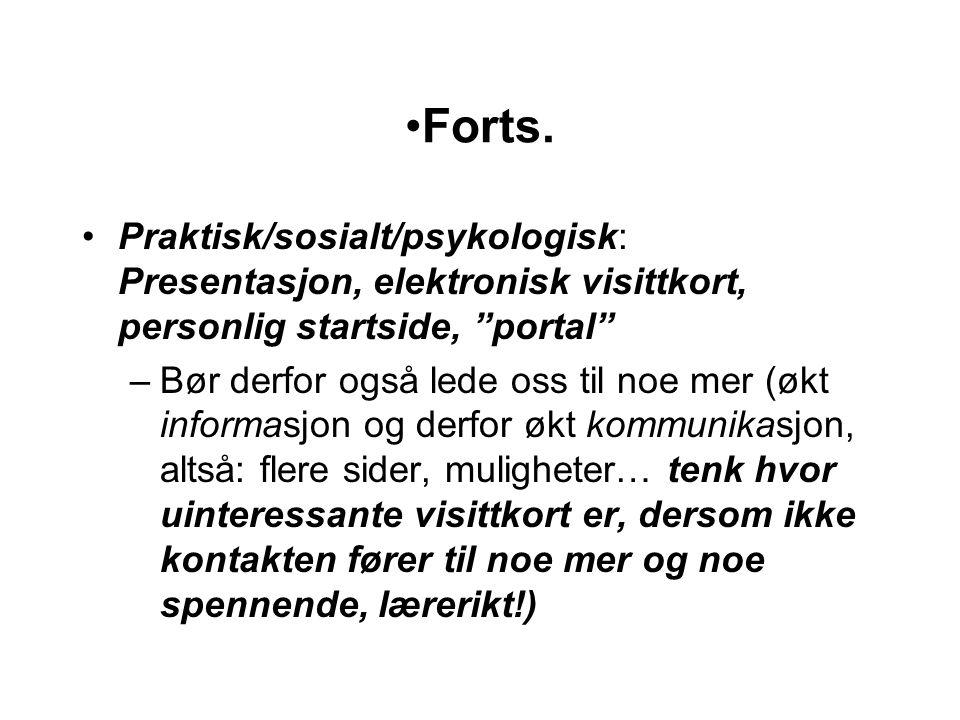 """Forts. Praktisk/sosialt/psykologisk: Presentasjon, elektronisk visittkort, personlig startside, """"portal"""" –Bør derfor også lede oss til noe mer (økt in"""