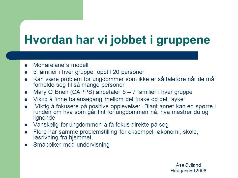 Åse Sviland Haugesund 2008 Hva blir spesielt med en ungdomsgruppe Sammensetting av gruppen Stort sett samme alder på grunn av modenheten Temaene er forskjellige i forhold til alder Forskjell på dialogen til en 14 åring kontra en 18 åring Diagnoser