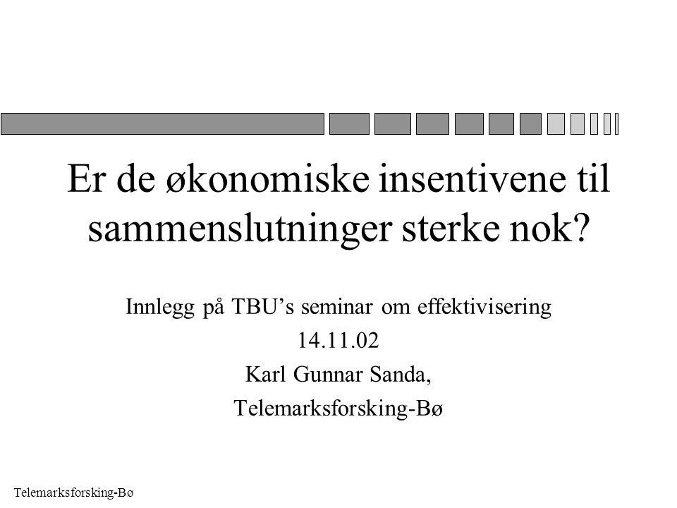 Telemarksforsking-Bø Er de økonomiske insentivene til sammenslutninger sterke nok.