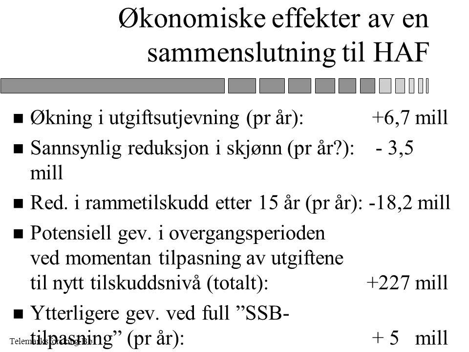 Telemarksforsking-Bø Økonomiske effekter av en sammenslutning til HAF n Økning i utgiftsutjevning (pr år): +6,7 mill n Sannsynlig reduksjon i skjønn (pr år ): - 3,5 mill n Red.