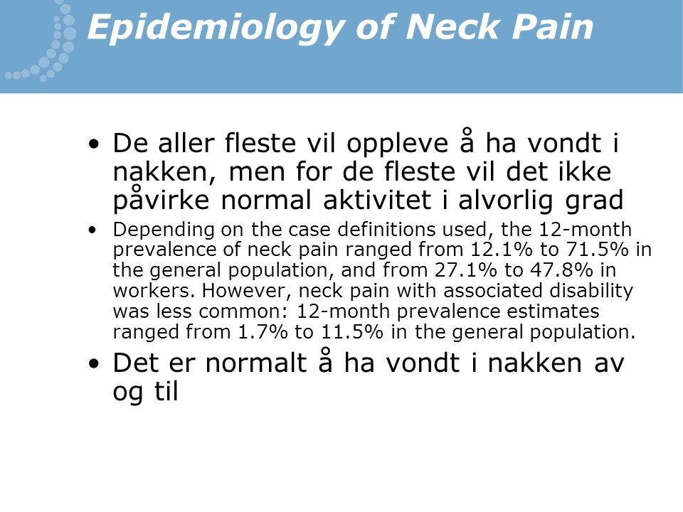 Epidemiology of Neck Pain De aller fleste vil oppleve å ha vondt i nakken, men for de fleste vil det ikke påvirke normal aktivitet i alvorlig grad Dep