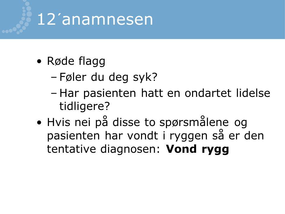 12´anamnesen Røde flagg –Føler du deg syk? –Har pasienten hatt en ondartet lidelse tidligere? Hvis nei på disse to spørsmålene og pasienten har vondt