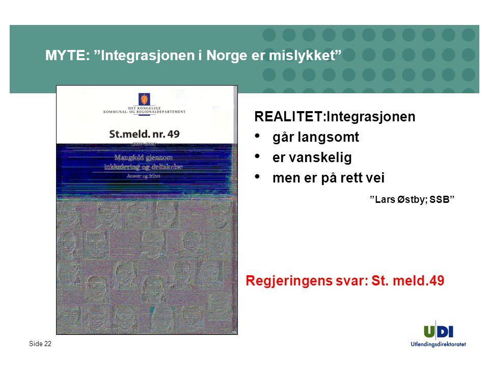 """Side 22 MYTE: """"Integrasjonen i Norge er mislykket"""" REALITET:Integrasjonen går langsomt er vanskelig men er på rett vei """"Lars Østby; SSB"""" Regjeringens"""