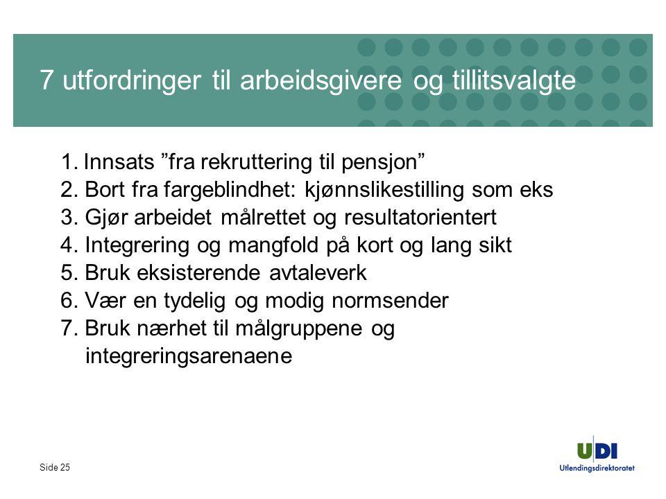 """Side 25 7 utfordringer til arbeidsgivere og tillitsvalgte 1. Innsats """"fra rekruttering til pensjon"""" 2. Bort fra fargeblindhet: kjønnslikestilling som"""