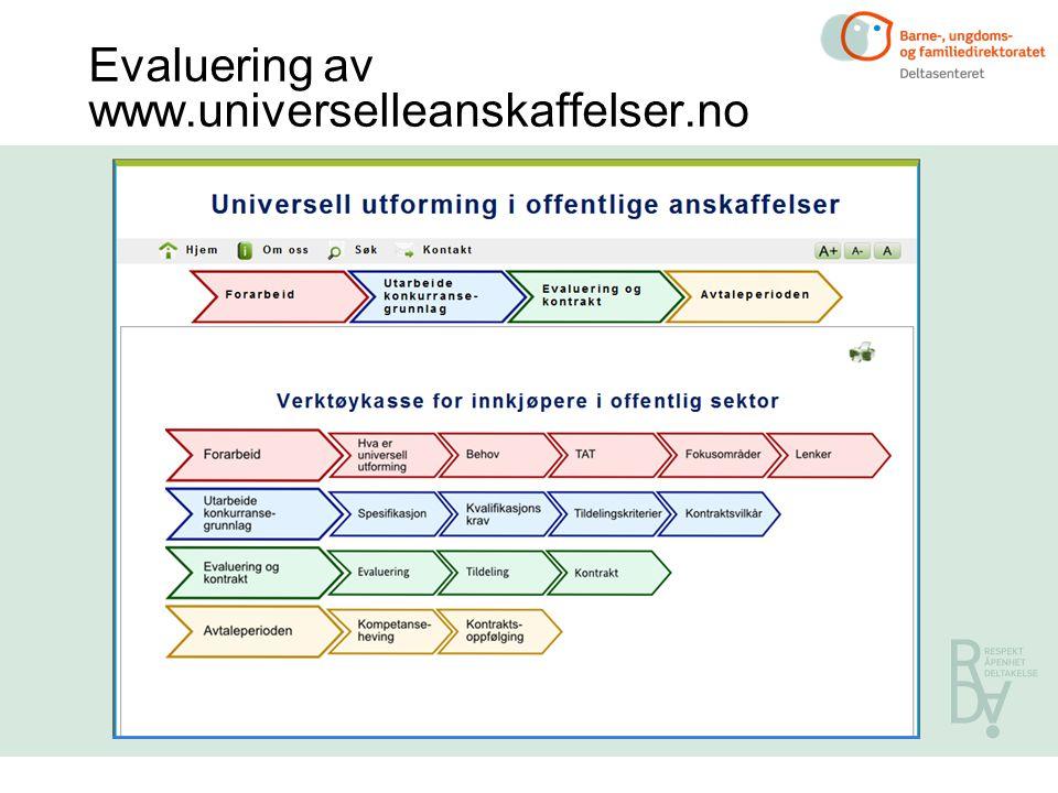 Evaluering av www.universelleanskaffelser.no