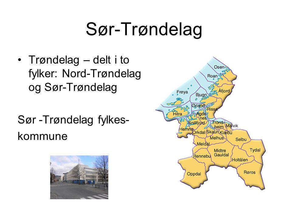 Sør-Trøndelag Trøndelag – delt i to fylker: Nord-Trøndelag og Sør-Trøndelag Sør -Trøndelag fylkes- kommune