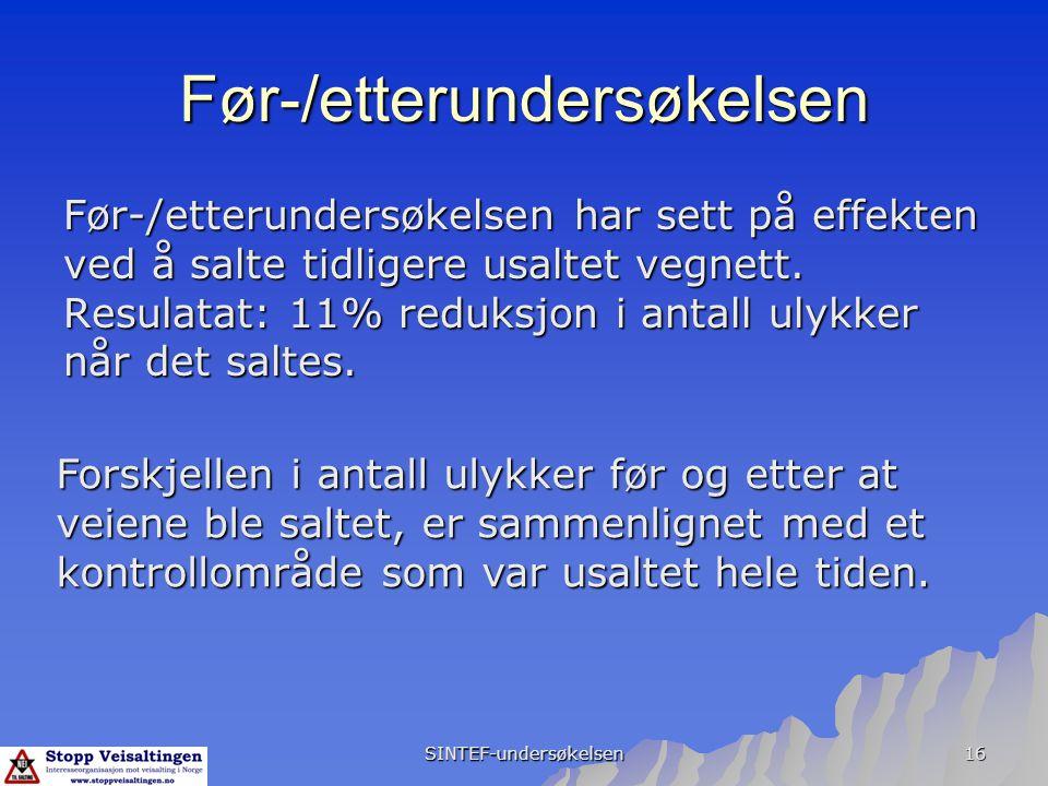 SINTEF-undersøkelsen 16 Før-/etterundersøkelsen Før-/etterundersøkelsen har sett på effekten ved å salte tidligere usaltet vegnett. Resulatat: 11% red
