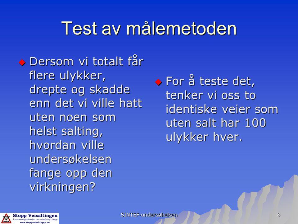 SINTEF-undersøkelsen 8 Test av målemetoden  Dersom vi totalt får flere ulykker, drepte og skadde enn det vi ville hatt uten noen som helst salting, h