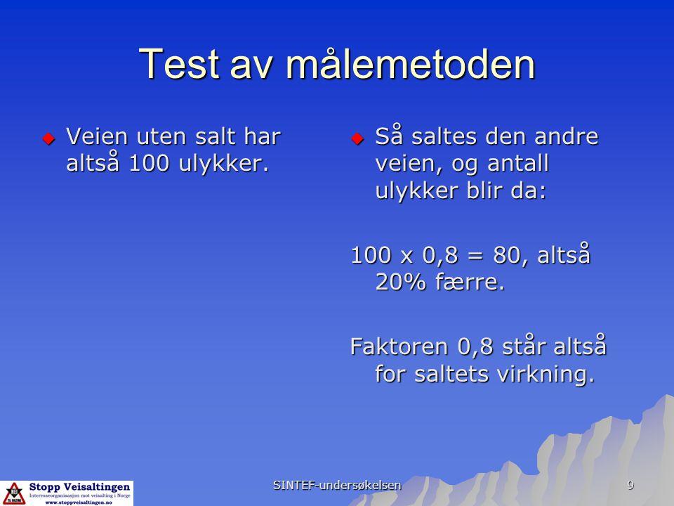 SINTEF-undersøkelsen 9 Test av målemetoden  Veien uten salt har altså 100 ulykker.  Så saltes den andre veien, og antall ulykker blir da: 100 x 0,8