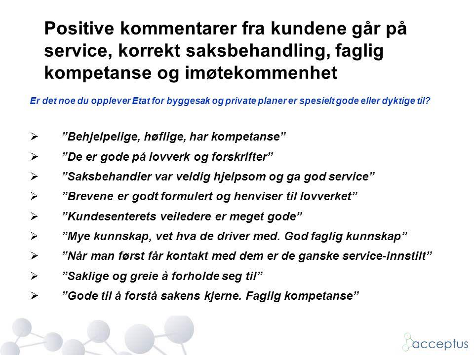 Positive kommentarer fra kundene går på service, korrekt saksbehandling, faglig kompetanse og imøtekommenhet Er det noe du opplever Etat for byggesak