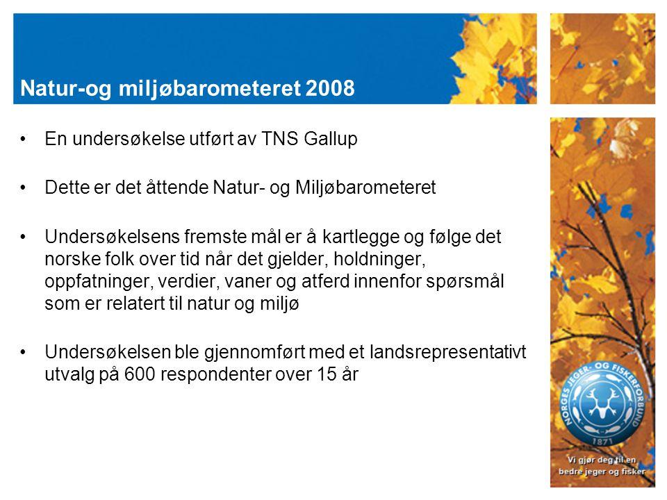 Natur-og miljøbarometeret 2008 En undersøkelse utført av TNS Gallup Dette er det åttende Natur- og Miljøbarometeret Undersøkelsens fremste mål er å kartlegge og følge det norske folk over tid når det gjelder, holdninger, oppfatninger, verdier, vaner og atferd innenfor spørsmål som er relatert til natur og miljø Undersøkelsen ble gjennomført med et landsrepresentativt utvalg på 600 respondenter over 15 år