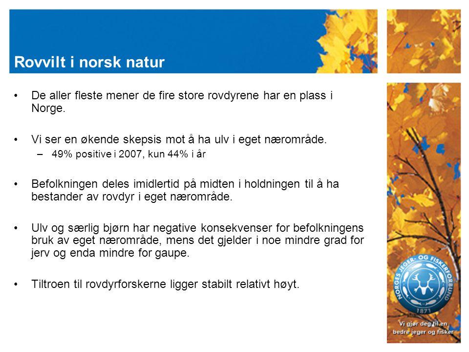 Rovvilt i norsk natur De aller fleste mener de fire store rovdyrene har en plass i Norge. Vi ser en økende skepsis mot å ha ulv i eget nærområde. –49%