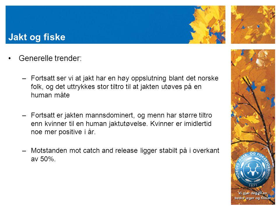 Jakt og fiske Generelle trender: –Fortsatt ser vi at jakt har en høy oppslutning blant det norske folk, og det uttrykkes stor tiltro til at jakten utøves på en human måte –Fortsatt er jakten mannsdominert, og menn har større tiltro enn kvinner til en human jaktutøvelse.