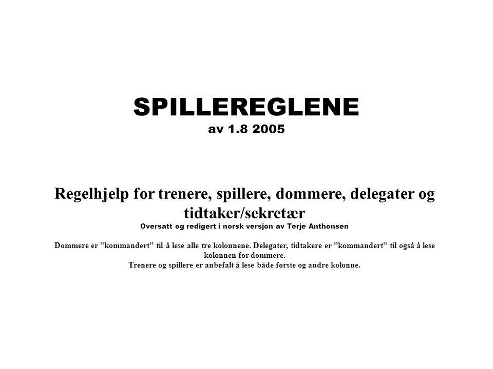 SPILLEREGLENE av 1.8 2005 Regelhjelp for trenere, spillere, dommere, delegater og tidtaker/sekretær Oversatt og redigert i norsk versjon av Terje Anth