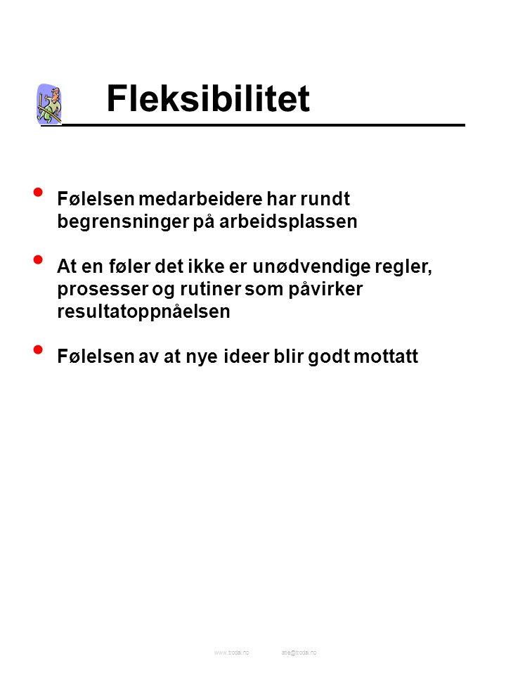 www.trodal.noatle@trodal.no Fleksibilitet Følelsen medarbeidere har rundt begrensninger på arbeidsplassen At en føler det ikke er unødvendige regler,