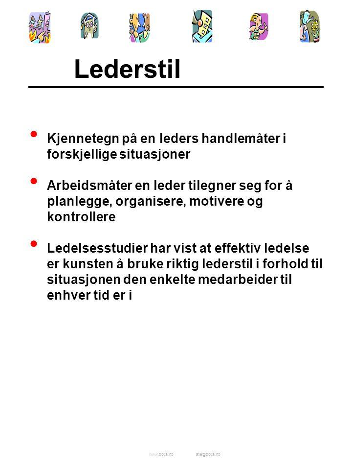 www.trodal.noatle@trodal.no Lederstil Kjennetegn på en leders handlemåter i forskjellige situasjoner Arbeidsmåter en leder tilegner seg for å planlegg