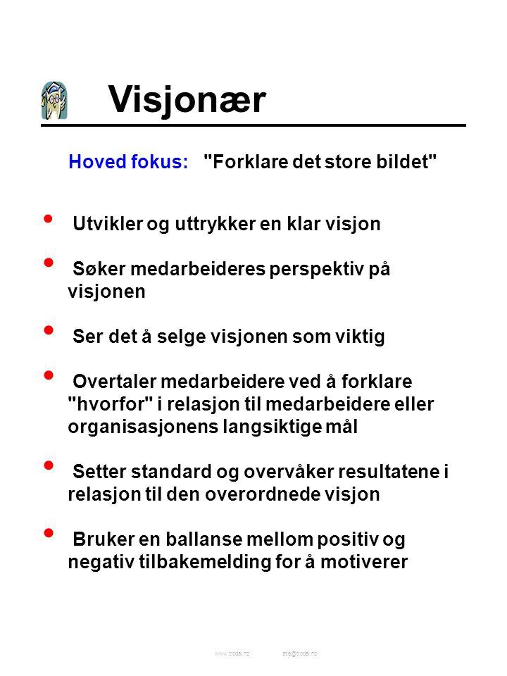 www.trodal.noatle@trodal.no Visjonær Hoved fokus: