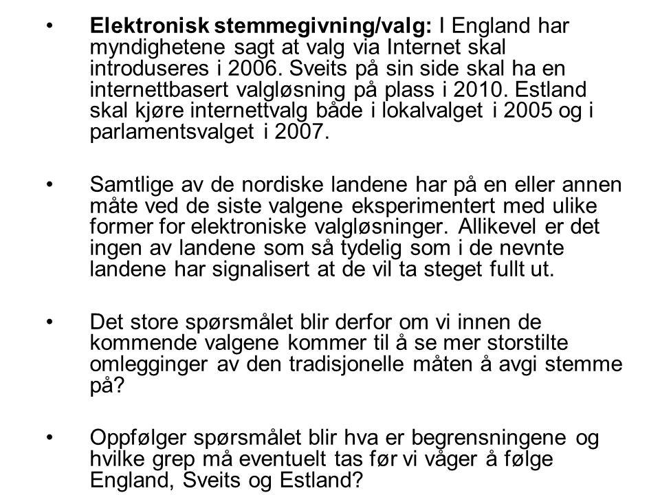 Elektronisk stemmegivning/valg: I England har myndighetene sagt at valg via Internet skal introduseres i 2006. Sveits på sin side skal ha en internett