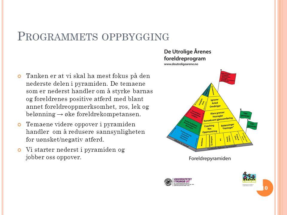 P ROGRAMMETS OPPBYGGING Tanken er at vi skal ha mest fokus på den nederste delen i pyramiden.
