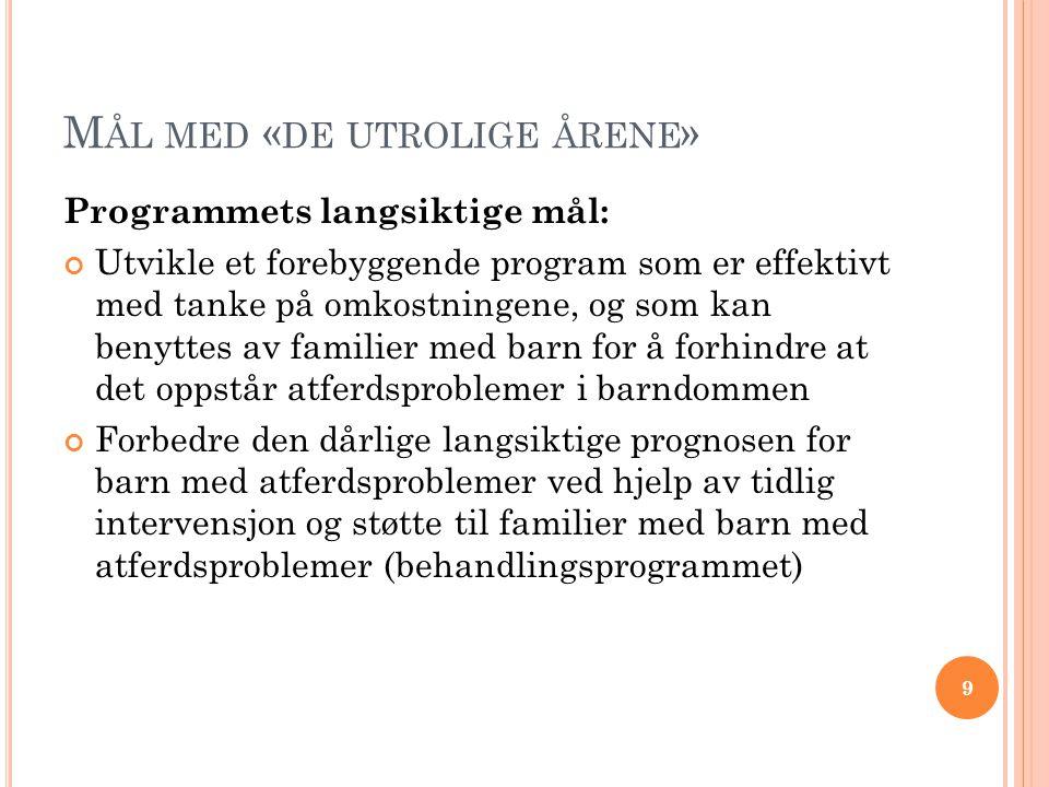 M ÅL MED « DE UTROLIGE ÅRENE » Programmets langsiktige mål: Utvikle et forebyggende program som er effektivt med tanke på omkostningene, og som kan benyttes av familier med barn for å forhindre at det oppstår atferdsproblemer i barndommen Forbedre den dårlige langsiktige prognosen for barn med atferdsproblemer ved hjelp av tidlig intervensjon og støtte til familier med barn med atferdsproblemer (behandlingsprogrammet) 9