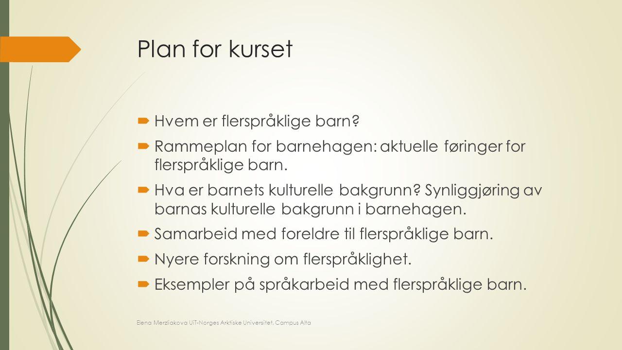 Plan for kurset  Hvem er flerspråklige barn?  Rammeplan for barnehagen: aktuelle føringer for flerspråklige barn.  Hva er barnets kulturelle bakgru