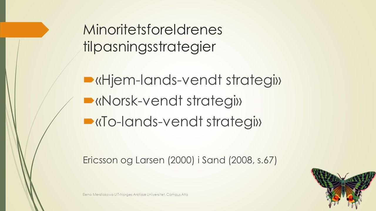 Minoritetsforeldrenes tilpasningsstrategier  «Hjem-lands-vendt strategi»  «Norsk-vendt strategi»  «To-lands-vendt strategi» Ericsson og Larsen (200