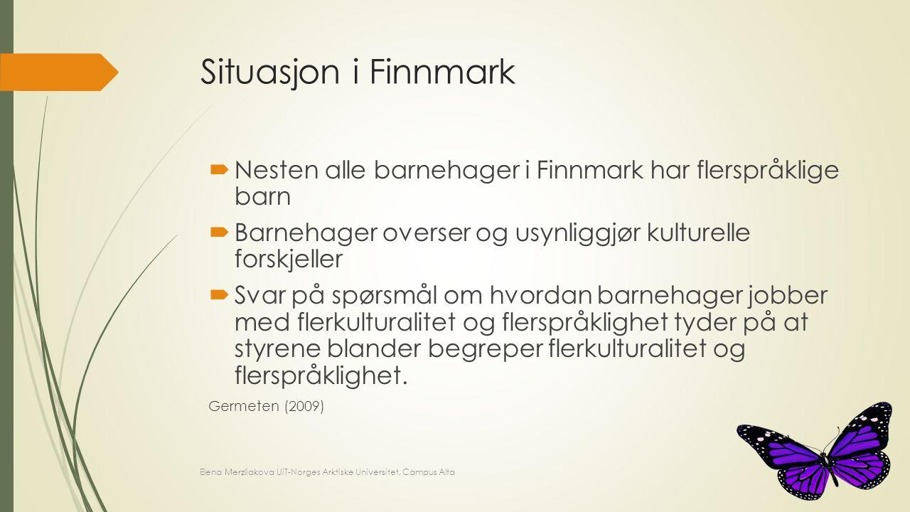 Situasjon i Finnmark  Nesten alle barnehager i Finnmark har flerspråklige barn  Barnehager overser og usynliggjør kulturelle forskjeller  Svar på s